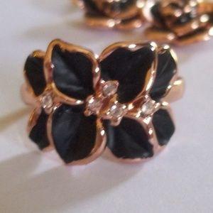 Rose Gold Black Enamel Blossom Ring